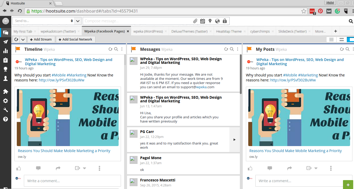 Hootsuite integrates with Dropbox, Googledrive - Hootsuite Dashboard