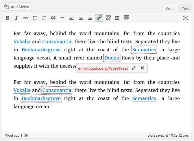 WordPress 4.6 - highlighted broken links
