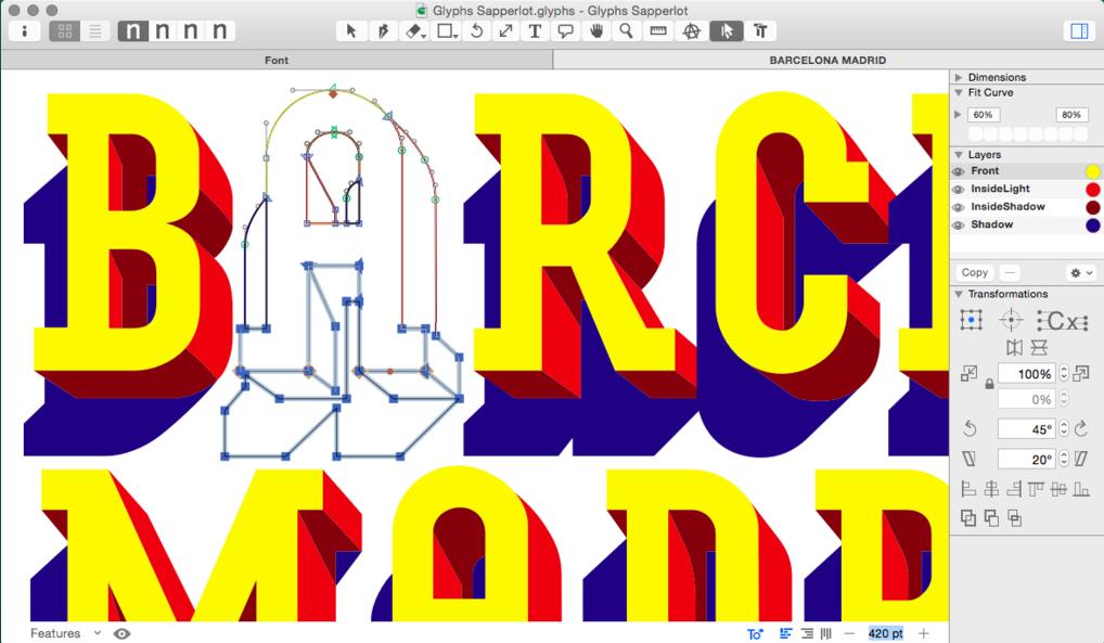 custom typeface glyphs