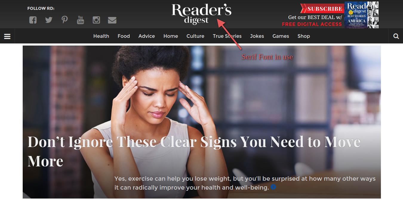 serif font reader's digest
