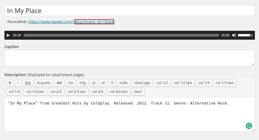 Audio File in WordPress - ID
