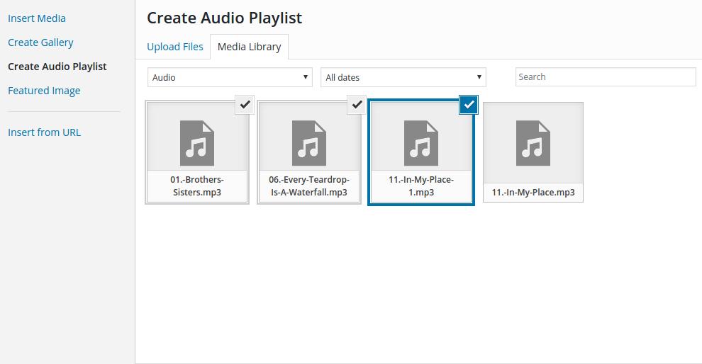 Audio files in WordPress - create audio playlist