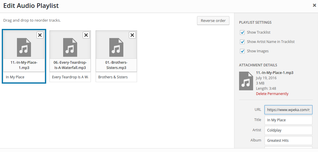 Audio files in WordPress- edit meta