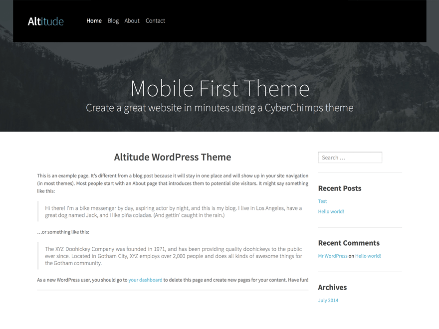wordpress themes for effective content marketing - altitude lite