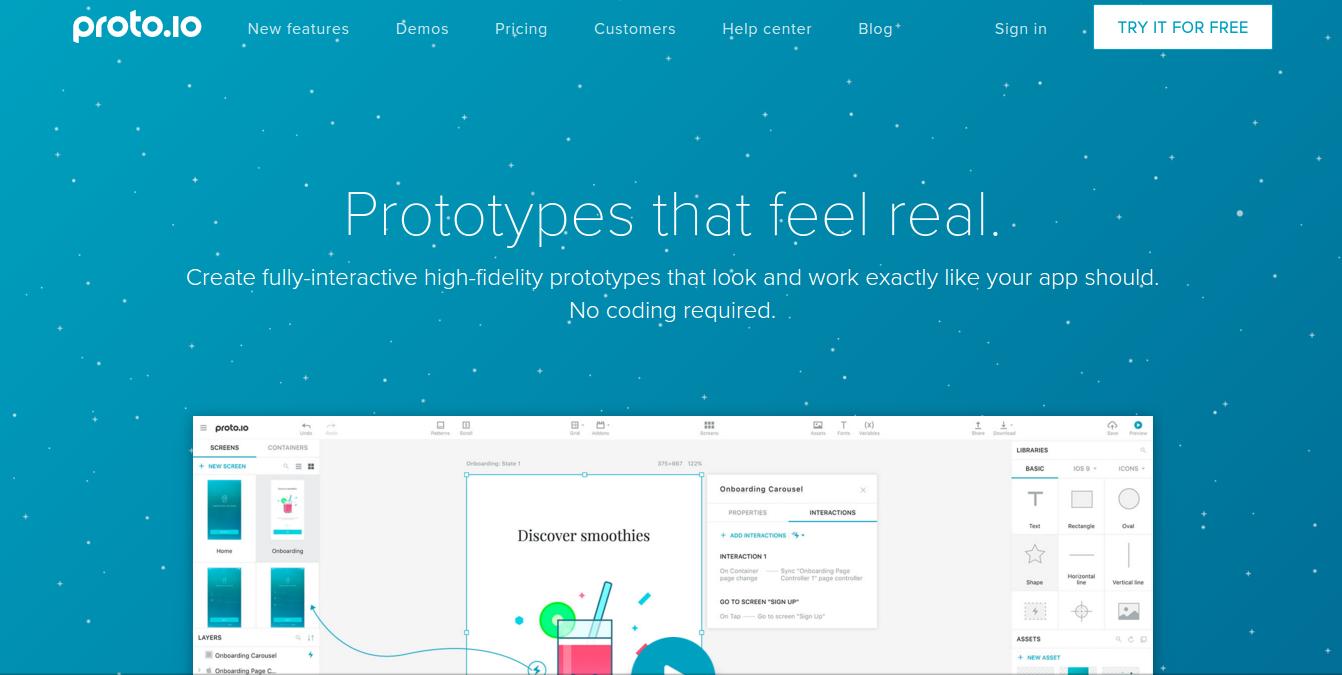 best web design tools- protoio