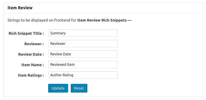 rich snippets plugin configuration