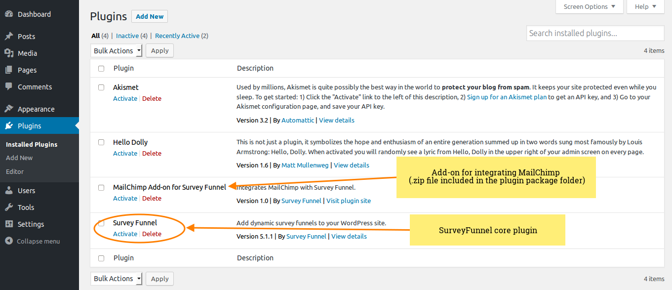 SurveyFunnel and MailChimp Add-on - Activate