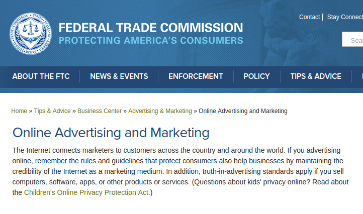 ftc online marketing policy