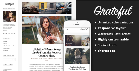 best personal blog wordpress themes - grateful