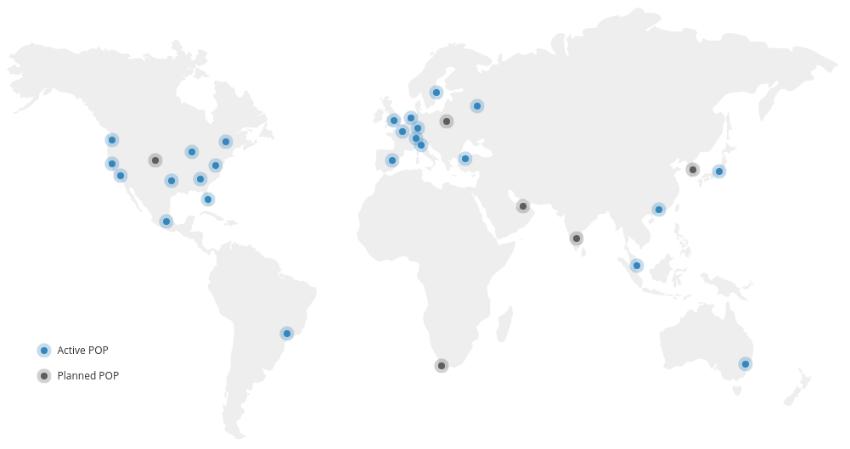 keycdn POP server locations - wordpress site speed