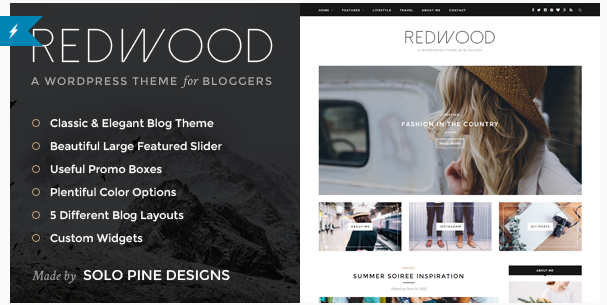 best personal blog wordpress themes - redwood