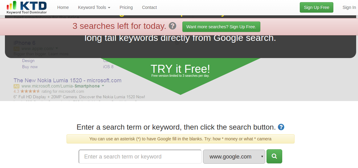 keywordtooldominator - free keyword analysis tools for SEO