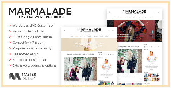 best personal blog wordpress themes - marmalade
