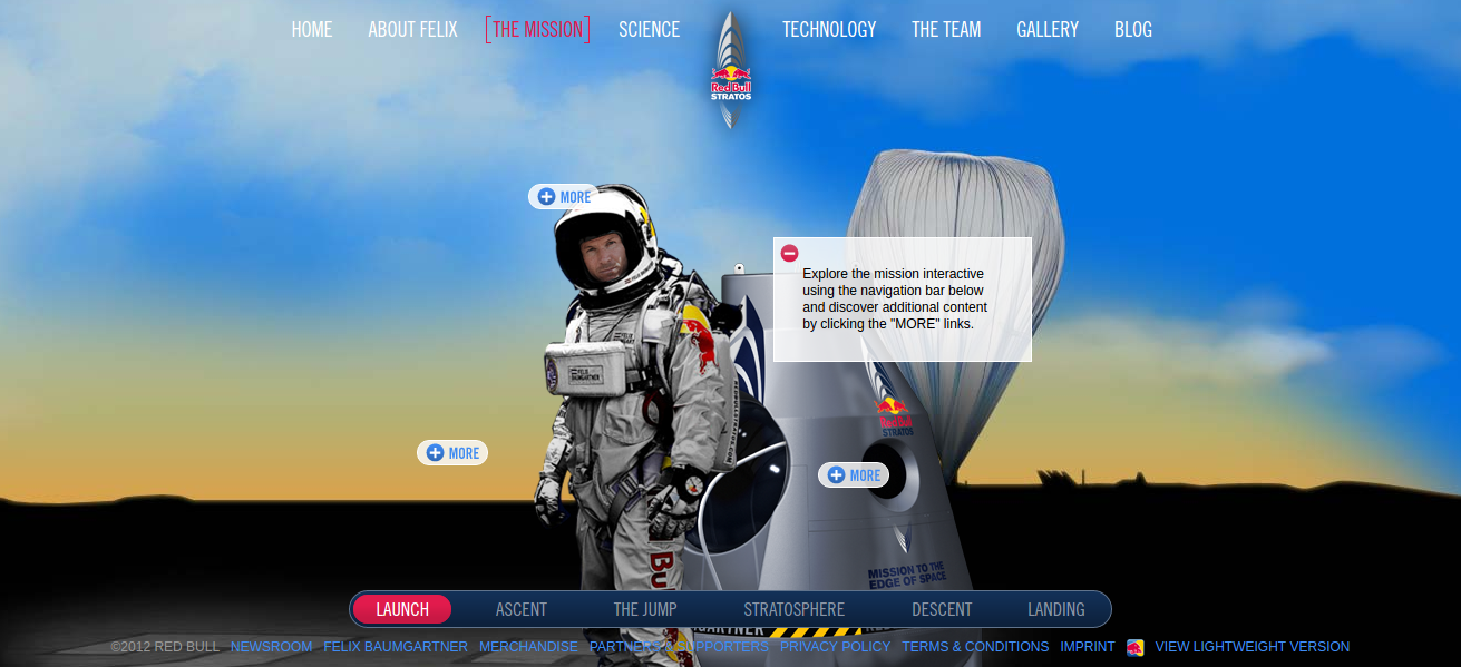 examples of parallax scrolling - redbullstratos