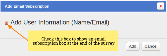 SurveyFunnel - Add Funnel - Design tab - Add Email Subscription