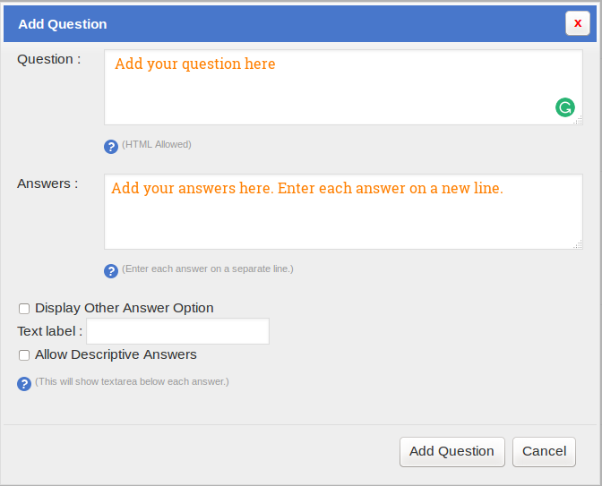 SurveyFunnel - Add Funnel - Design tab - Add question