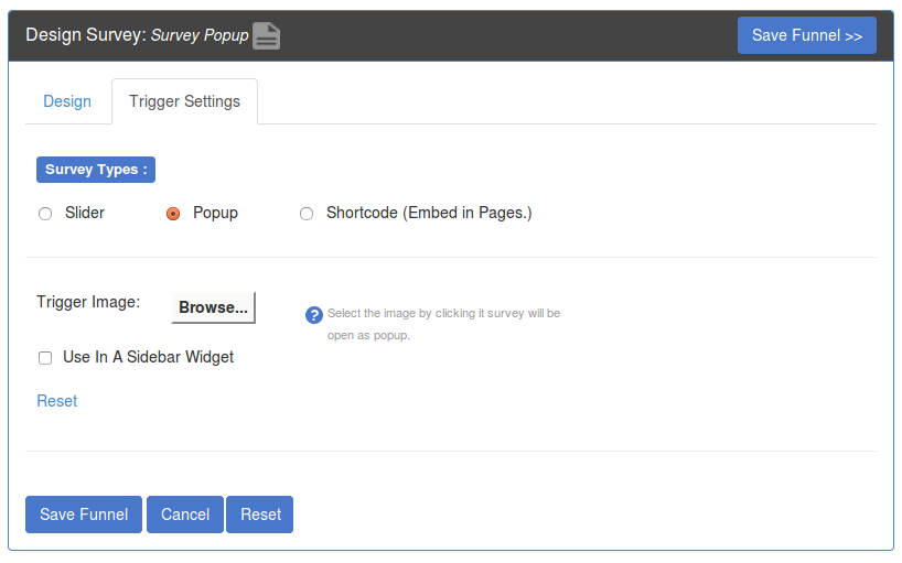 SurveyFunnel - Add Funnel - Trigger Settings tab - Popup