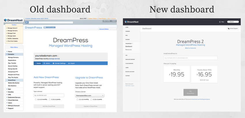 dreampress dashboard old and new