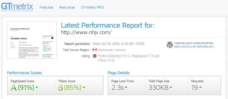 performance-of-dreampress-site-on-gtmetrix