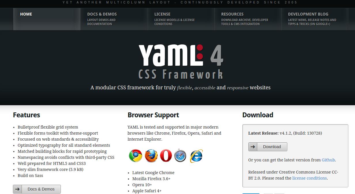 best CSS3 frameworks 2016 - yaml