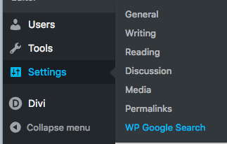 wp-google-search-in-settings