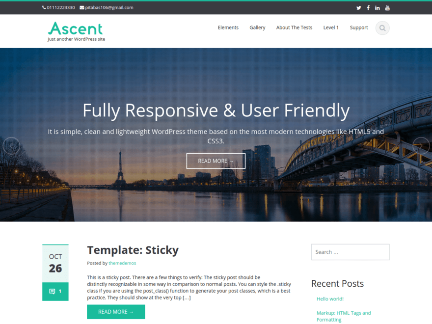 best free responsive WordPress themes - Ascent
