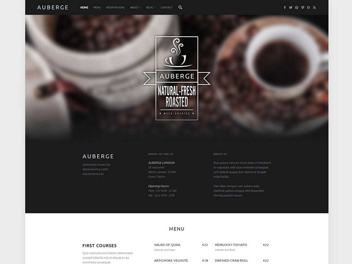 best free responsive WordPress themes - auberge
