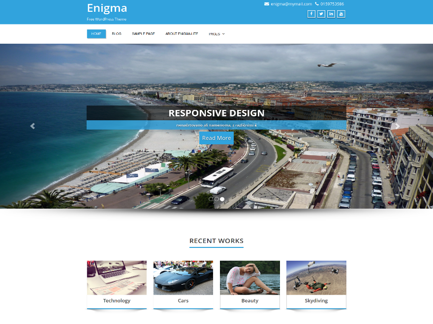best free responsive WordPress themes - enigma