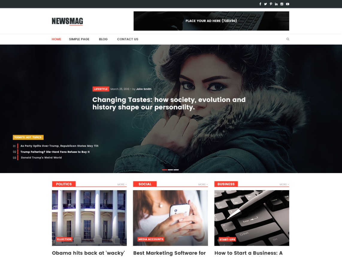 best free responsive WordPress themes - Newsmag