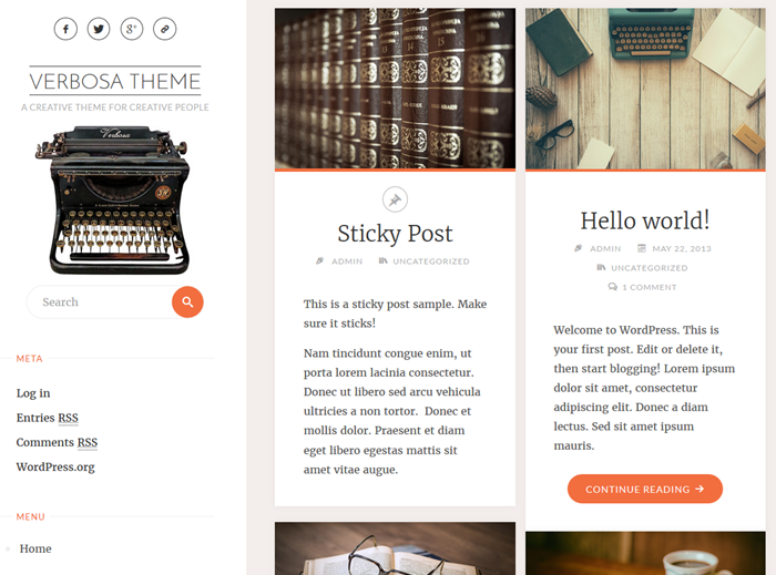 free wordpress theme for artists verbosa