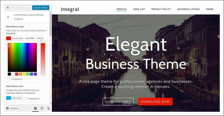 customize theme using wordpress default customizer