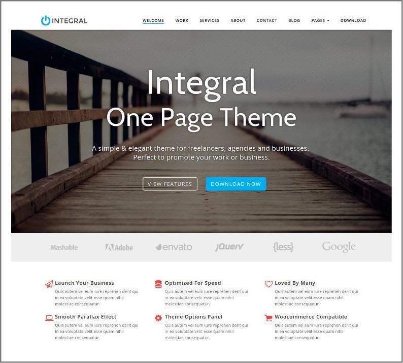 integral theme - one page parallax wordpress theme