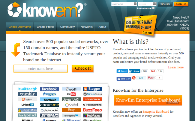 free domain name generators - knowem