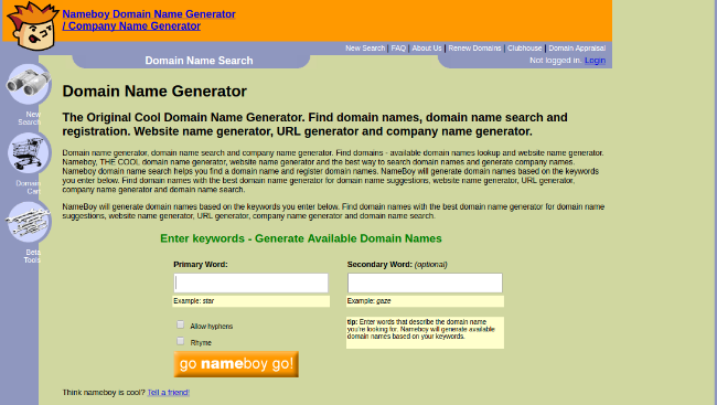 free domain name generators - nameboy
