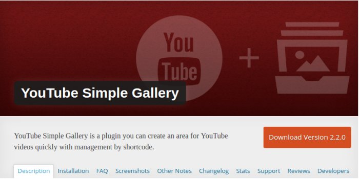 YouTube Simple Gallery