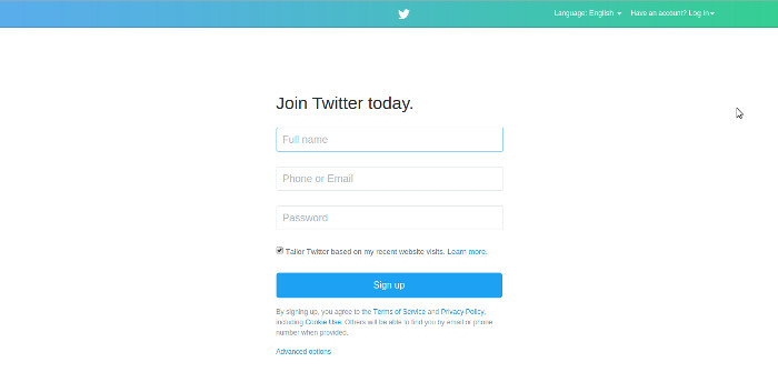 twitter signup form