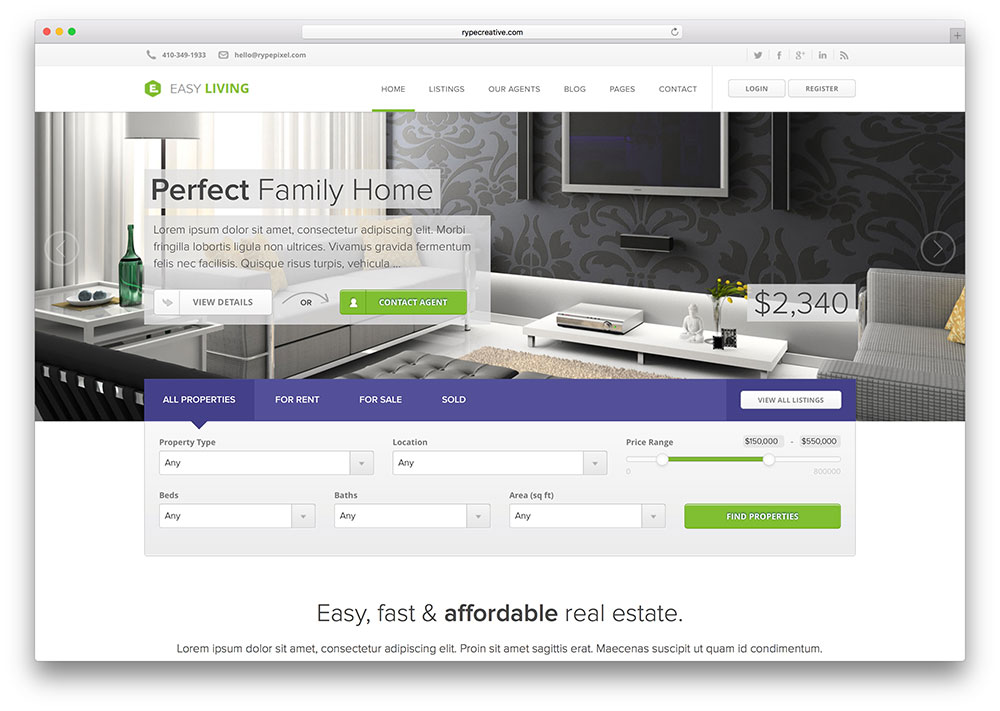 Easy Living | Real Estate WordPress Themes