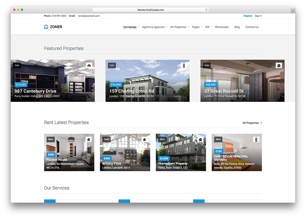 Zoner | Real Estate WordPress Themes