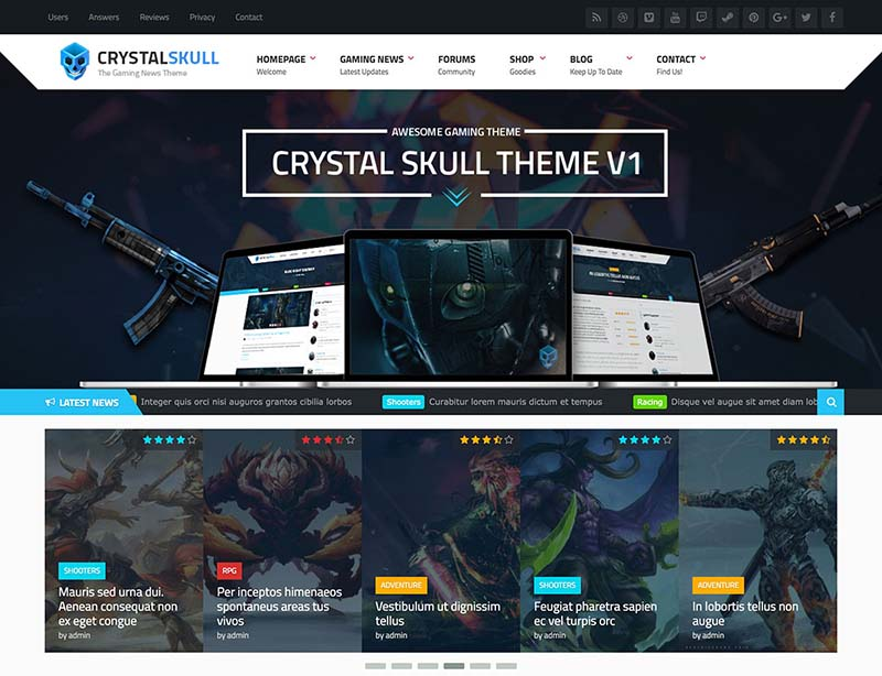 Best WordPress Gaming Themes 2017 | CrystalSkull
