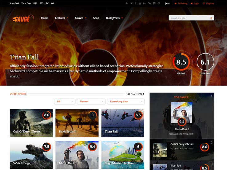 Best WordPress Gaming Themes 2017 | Gauge