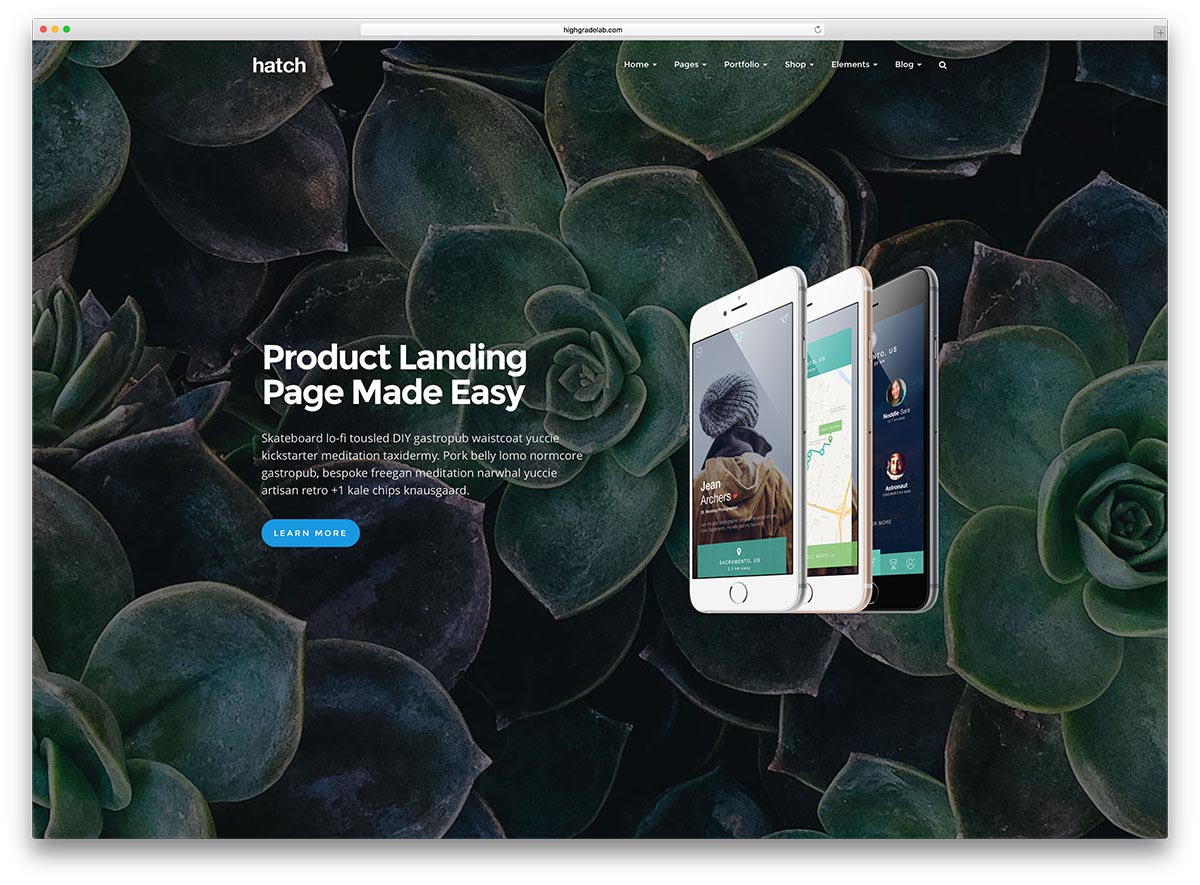 Landing Page WordPress Themes | Hatch