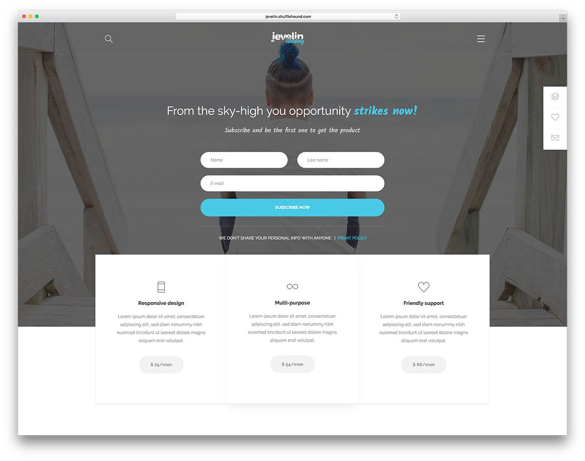 Landing Page WordPress Themes | Jevelin
