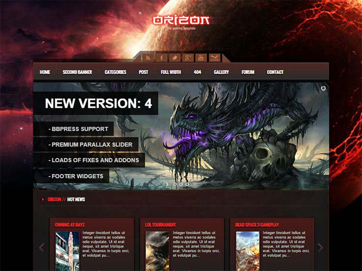 Best WordPress Gaming Themes 2017 | Orizon