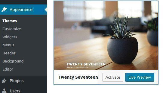 Twenty Seventeen theme | Activate child theme