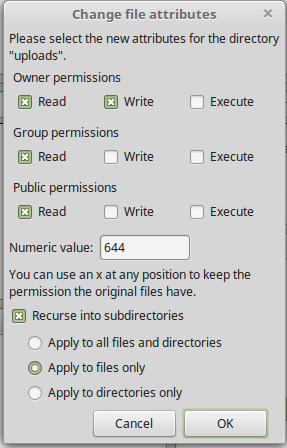 644 file permission