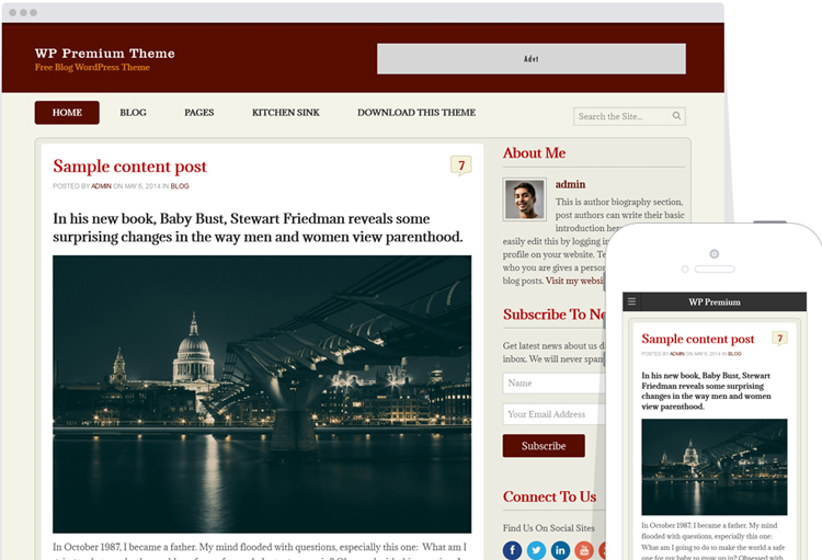 WP Premium Theme - Free Blog WordPress Theme