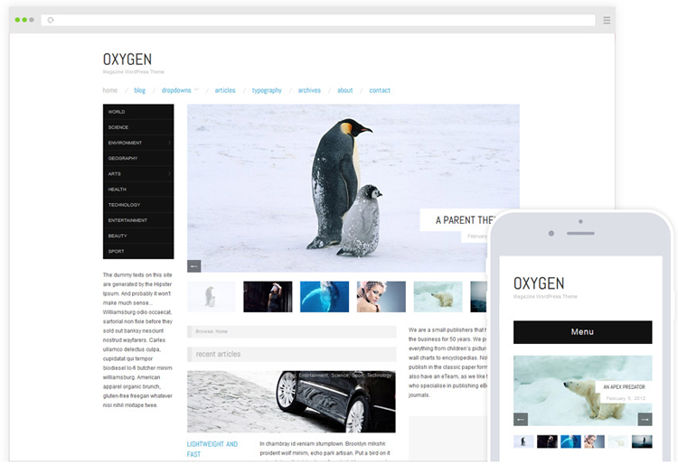 Oxygen Free Magazine WordPress Theme