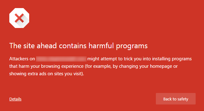 """This site ahead contains harmful programs"" Error"