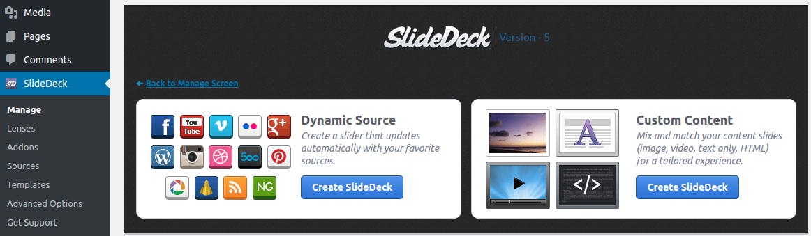 Dynamic source create slidedeck