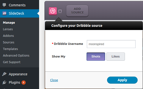 configuring dribbble source